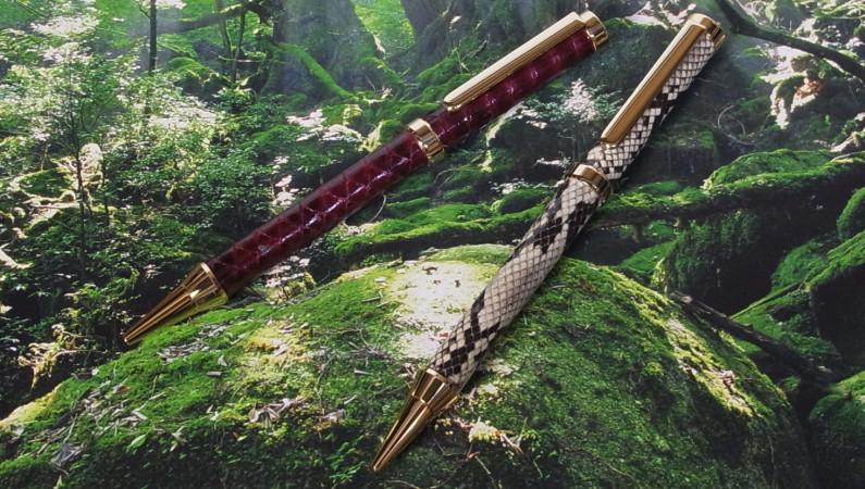蛇革巻きボールペン